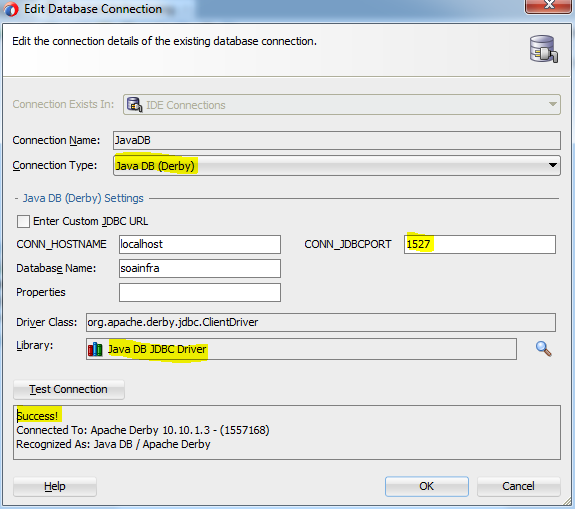 Soa12c - Creating DB Connection in JDeveloper to JavaDB