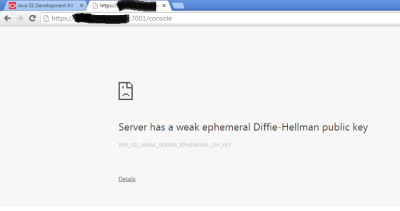 Server has a weak ephemeral Diffie-Hellman public key